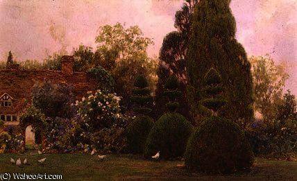 Poulets dans un jardin de Ernest Arthur Rowe (1863-1922, United Kingdom)