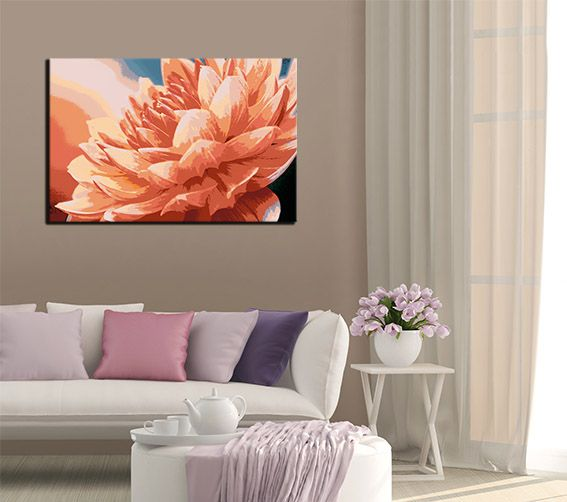 Stretched canvas prints of beautyfull flower with   paint effects.