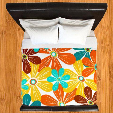 Modern Bedding, Duvet Cover,Orange  Floral Duvet Cover,  Mid Century Bedding,Modern Duvet Cover