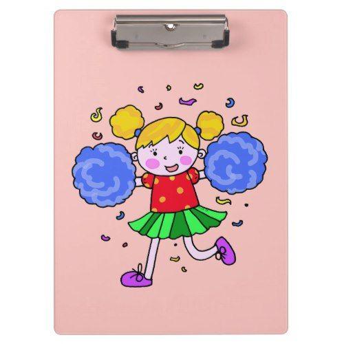 cute cheerleader girl clipboard