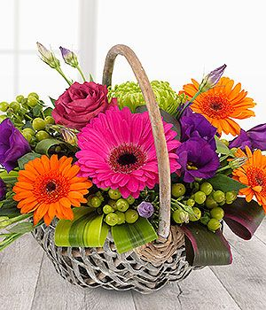 cerise orange purple lime vibrant flower basket