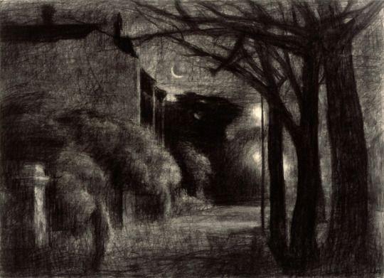 Rick Amor (Australian, b. 1948), The Street at Night, 2004. Charcoal. Thunderstruck