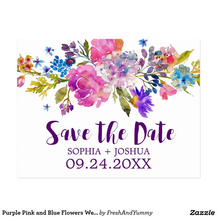 Purple Pink and Blue Flowers Wedding Save the Date Postcard This purple pink and blue flowers wedding save the date postcard is perfect for a floral theme wedding. The design features bright magenta, pink, plum purple and blue flowers, and a lovely bold script font. Personalize the front of the announcement with the couples names and wedding date. Customize the back with your wedding details. Designed with Care by Miriam at Fresh & Yummy Paperie.