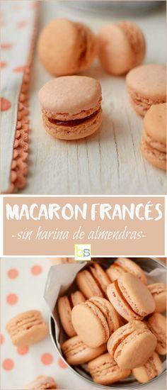 Macaron francés sin harina de almendras, elaborado con una base de merengue francés y coco deshidratado sustituyendo a la harina de almendras    www.bizcochosysancochos.com