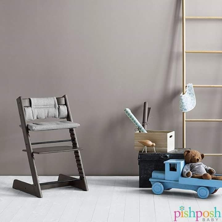 The Stokke Tripp Trapp in Hazy Grey fits right into pretty much any room in your home, so baby's chair can be just as on point as everyone else's. Grows with your baby, seats adults! Priced at $249.  http://www.pishposhbaby.com/stokke-tripp-trapp.html