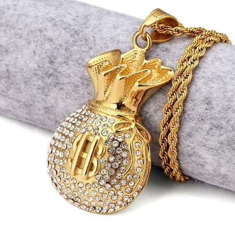 Gold Money Bag Rhinstone Hiphop Necklace #urbanstreetzone #urbanstreetwear #urbangear #urbanstyle #streetwear #streetbeast #streetfashion #hypebeast #outfitoftheday #outfitinspiration #ootd #outfit #outfitgrid #brand #boutique #highsnobiety #contemporary #minimalism #necklace #jewelry #hiphop