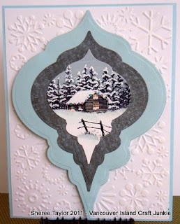 Neat idea for matting a picture - Lakeside cabin Vancouver Island Craft Junkie: Stampscapes