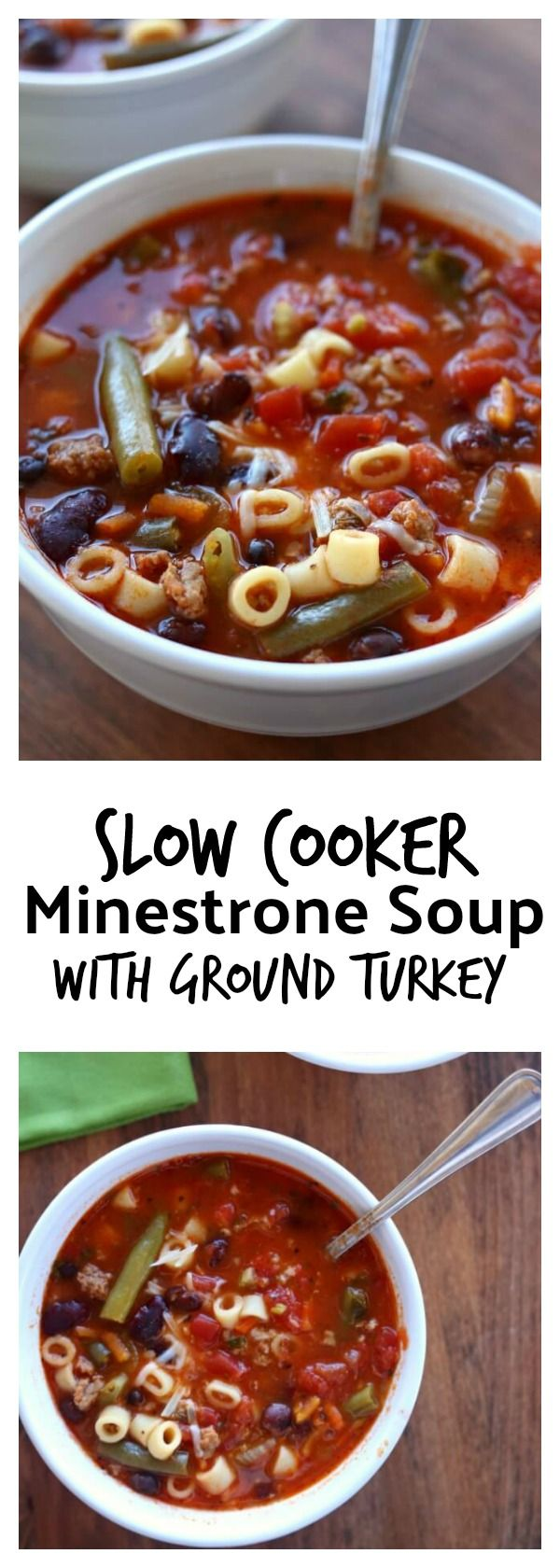Slow Cooker (Ground Turkey) Minestrone Soup–a colorful, healthy and brightly flavored soup that is full of vegetables, basil, beans, pasta, and ground turkey. Let this soup simmer all day in your slow cooker and enjoy a warm bowl of deliciousness for dinner. #crockpot #slowcooker