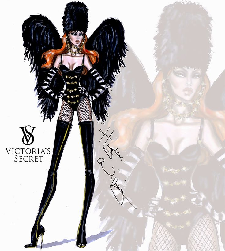 Hayden Williams Fashion Illustrations: Victoria's Secret 2014 collection by Hayden Williams 'Dark Angel'