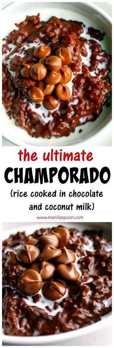 Champorado in coconut milk and chocolate.