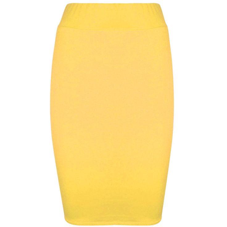 $6.99--UK 20/22--Sunflower Yellow--Women's-Plain-Bodycon-Pencil-Tube-High-Waist-Ladies-Stretch-Midi-Skirt-UK-8-26