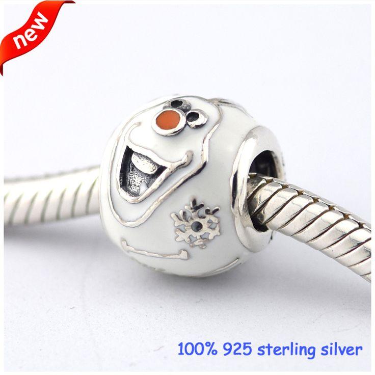 Past pandora armbanden olaf zilveren kralen met wit emaille winter stijl 100% 925 sterling zilver bedels diy sieraden groothandel 86(China (Mainland))