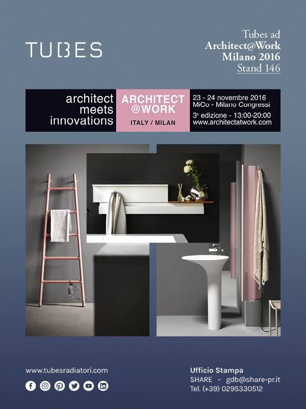 On 23 and 24 November, Tubes will be in Milan for another appointment with Architects@Work, the professional event which focuses on innovation.  We look forward to seeing you at our stand 146!  To sign up to the event, follow this link: http://milan.architectatwork.it