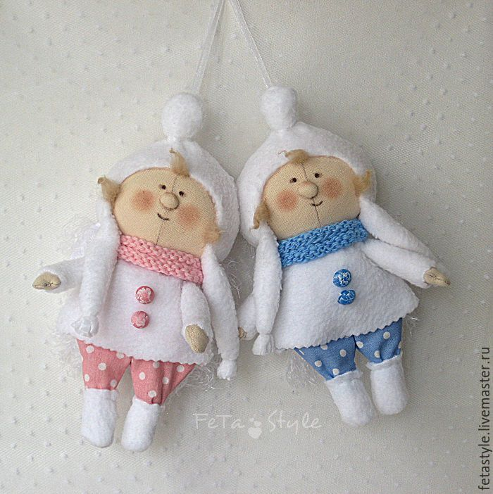 Купить Ангелы Снежные Куклы-подвески Текстильные Игрушки на Елку - ангел, ангел рождества купить
