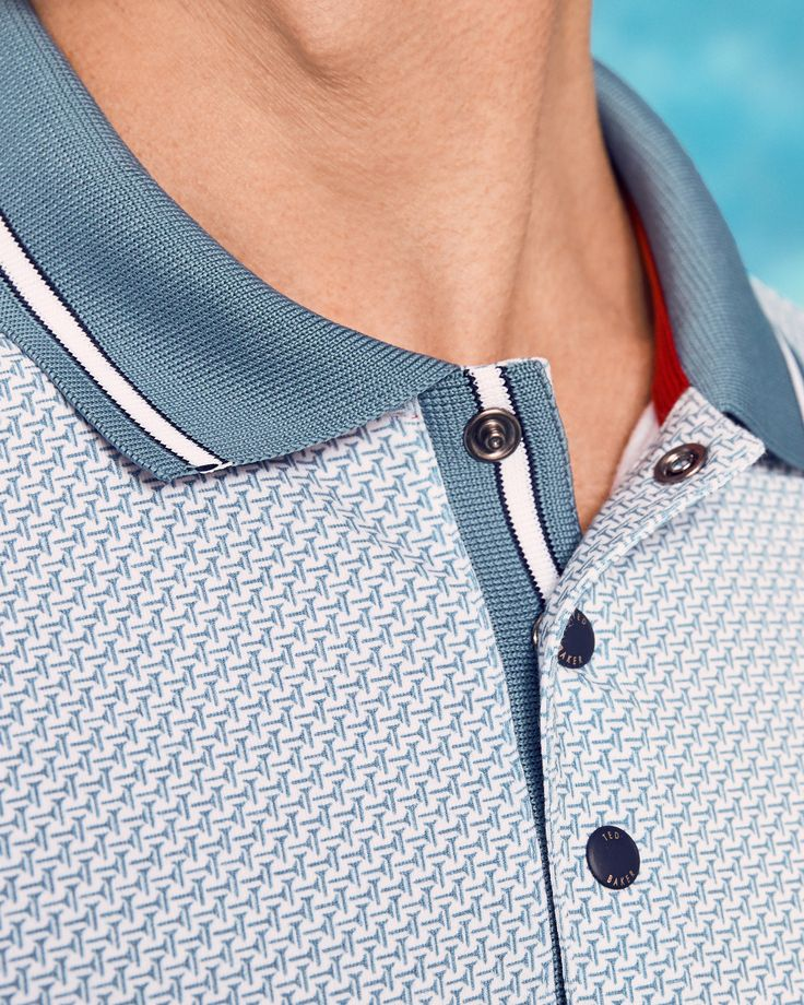 Golf tee pattern polo shirt - Light Blue | SS17 Golf | Ted Baker