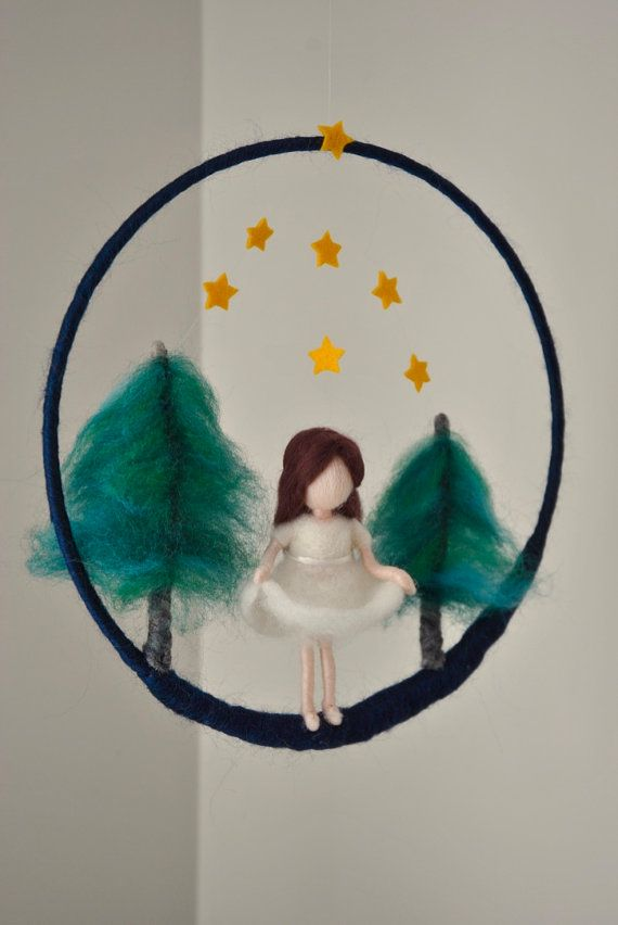 Waldorf inspired needle felted doll mobile: The Star Money