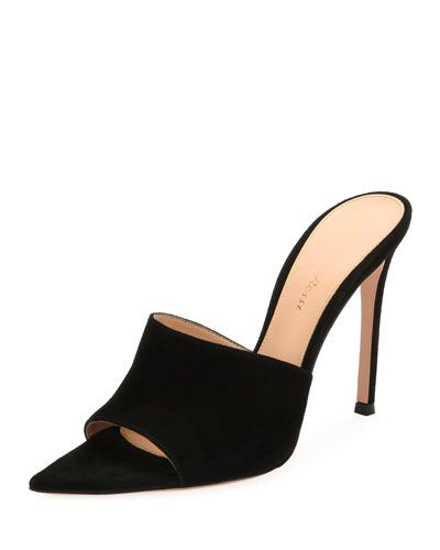 5c8c27ee542c GIANVITO ROSSI POINTY ONE-BAND SUEDE MULE SANDAL.  gianvitorossi  shoes