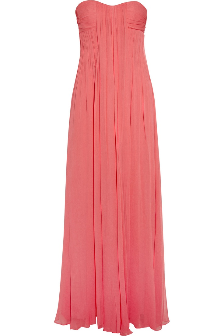 Pleated silk-chiffon gown by Halston Heritage
