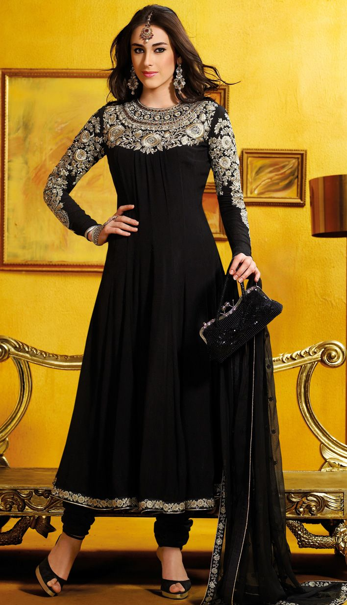 Gorgeous Black Georgette Anarkali Churidar Kameez Rs 6180 by http://www.eFello.com/indianethnic/salwar-kameez.aspx