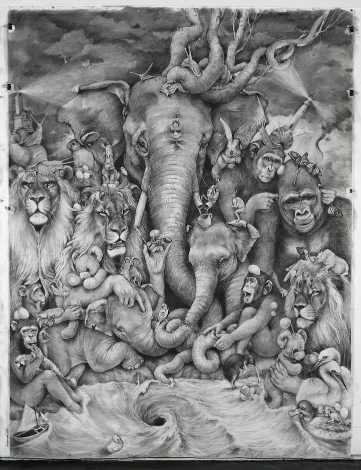 Adonna Khare's spectacular, large-scale animals murals are made with pencil on paper.