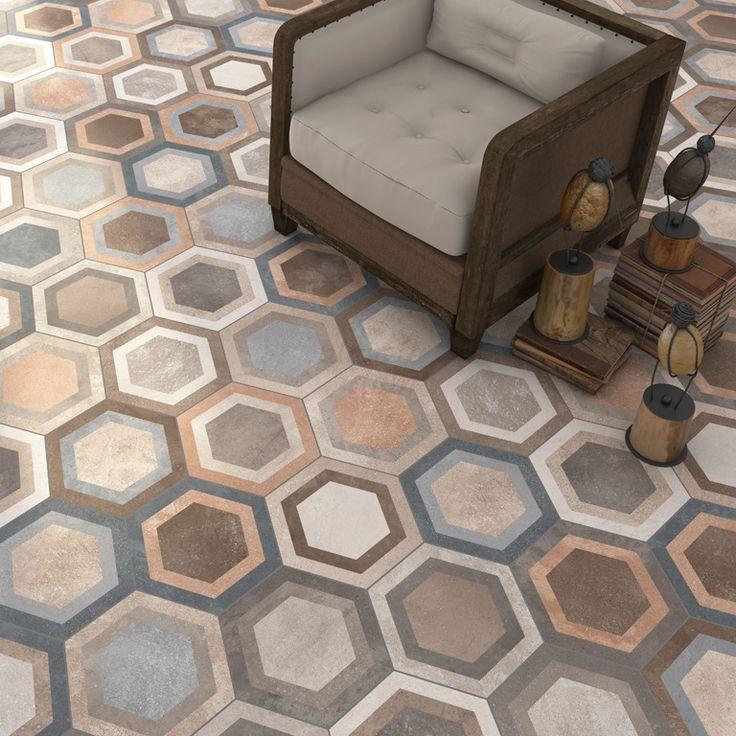 Hexagon Klinker Bushmills Multicolor - Kakel Online-Tiles R Us AB