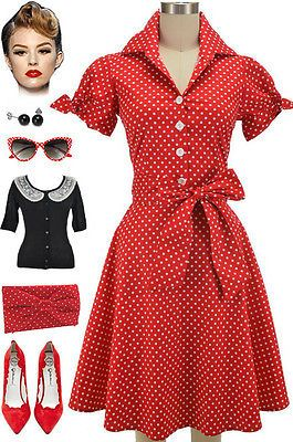 50s Style PLUS SIZE RED POLKA DOT Tie Sleeve Full Skirt Rockabilly PINUP Dress