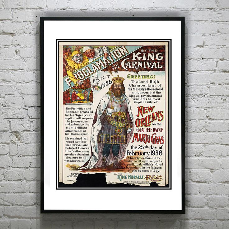 Holiday Sale: 1936 Vintage New Orleans Mardis Gras Art Print Poster King of the Carnival Louisiana