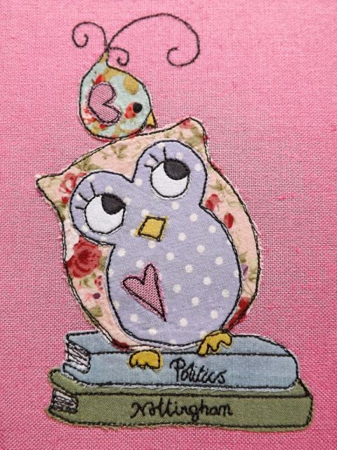 SewforSoul: Freehand / Free motion machine embroidery with appliqued birdie and owl