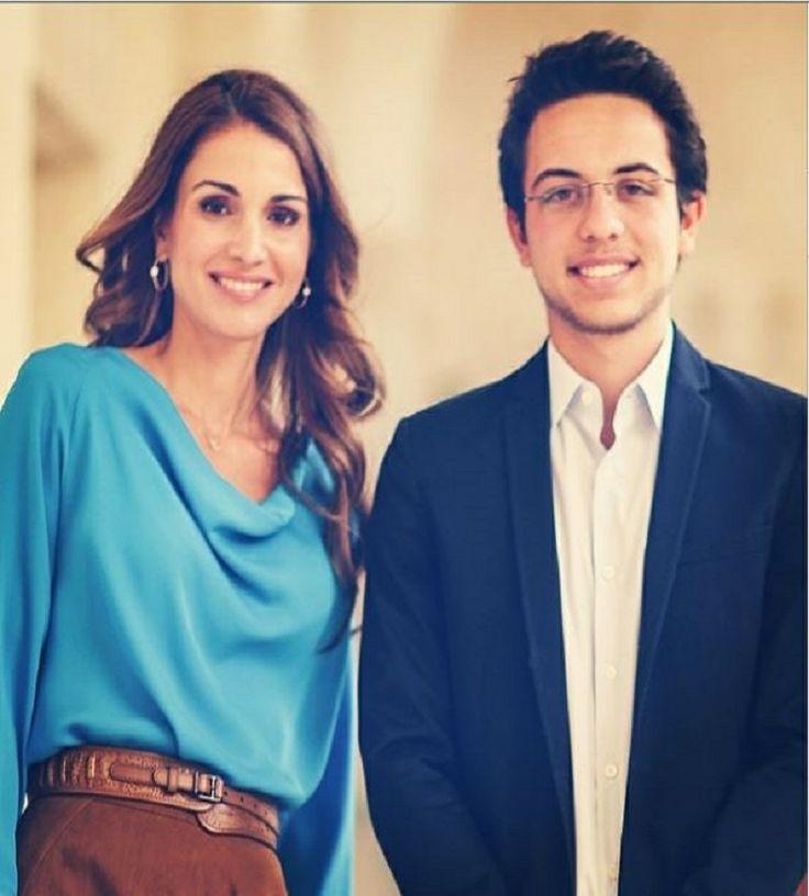 Queen Rania of Jordan with her son Hussein bin Abdullah, Crown Prince of Jordan