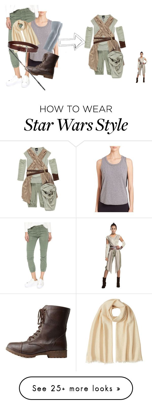 """DIY Rey from Star Wars Costume"" by princessvp03 on Polyvore featuring Nili Lotan, Elie Tahari, George, Under Armour, Brunello Cucinelli, HUGO, Bamboo and starwars"