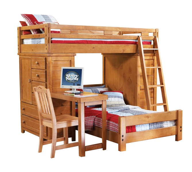 Single Bed And Desk Part - 44: Bunk Bed With Two Chests Plus Desk Over Single Bed