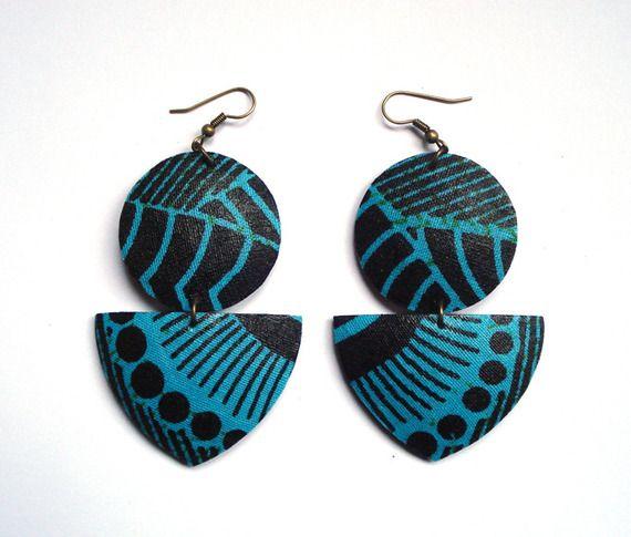 boucles d'oreille wax et noix de coco doubles (turquoise et noir)