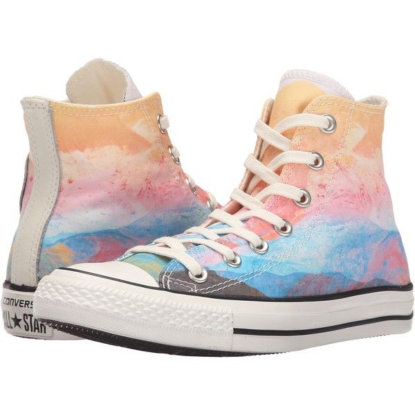 Converse Chuck Taylor All Star Sunset Hi (Solar Orange/Purple... (63 CAD) ❤ liked on Polyvore featuring shoes, sneakers, multi, purple shoes, orange sneakers, pastel shoes, star shoes and star sneakers