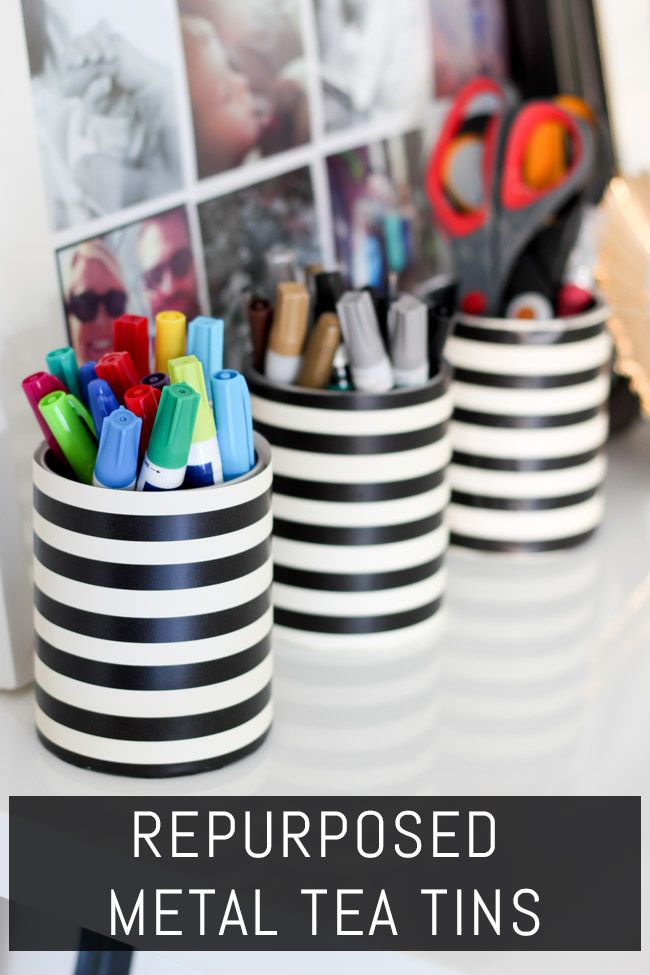 Inexpensive and easy—love these! Basic metal tins become ADORABLE office storage containers.
