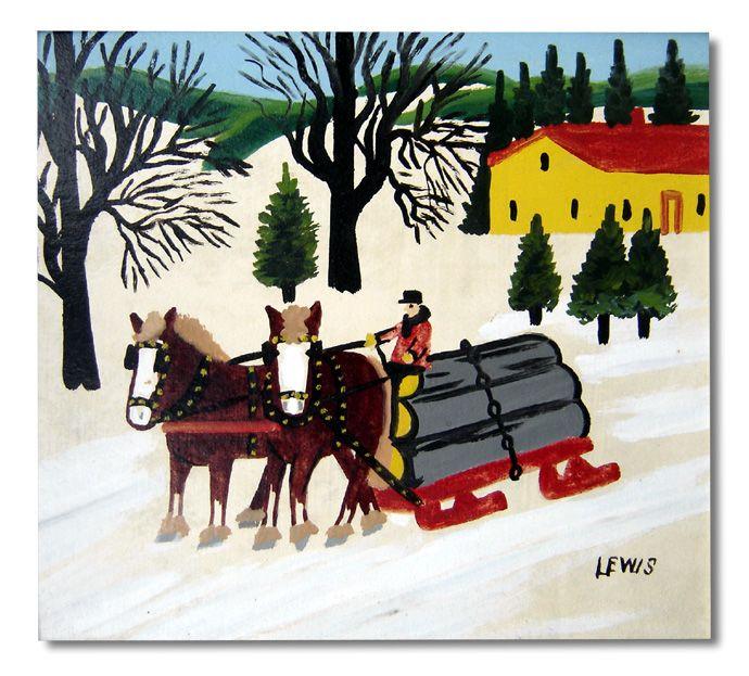 Maud Lewis Horses Pulling Logs