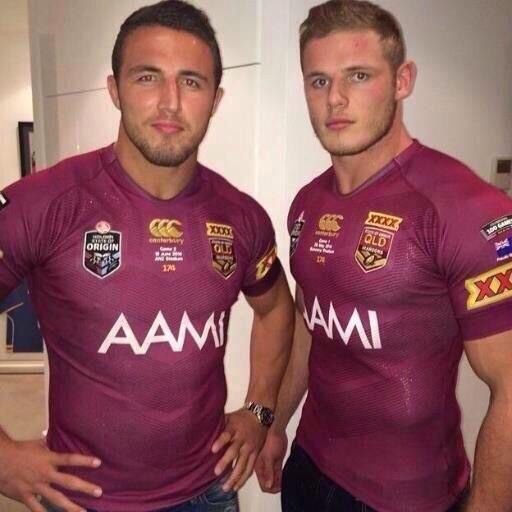Sam and George Burgess wearing Queensland State of Origin shirts