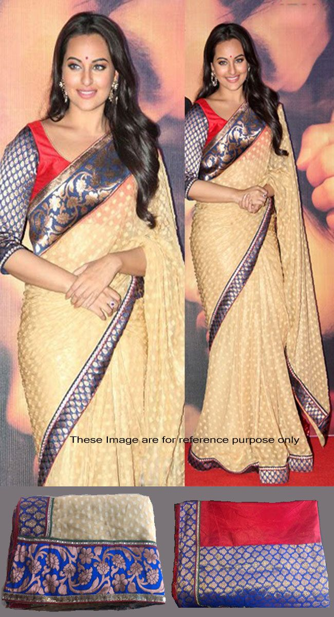 Sonakshi Sinha In Beige Brown Banarasi Silk Bollywood Saree - IG7584 USD $ 63.36