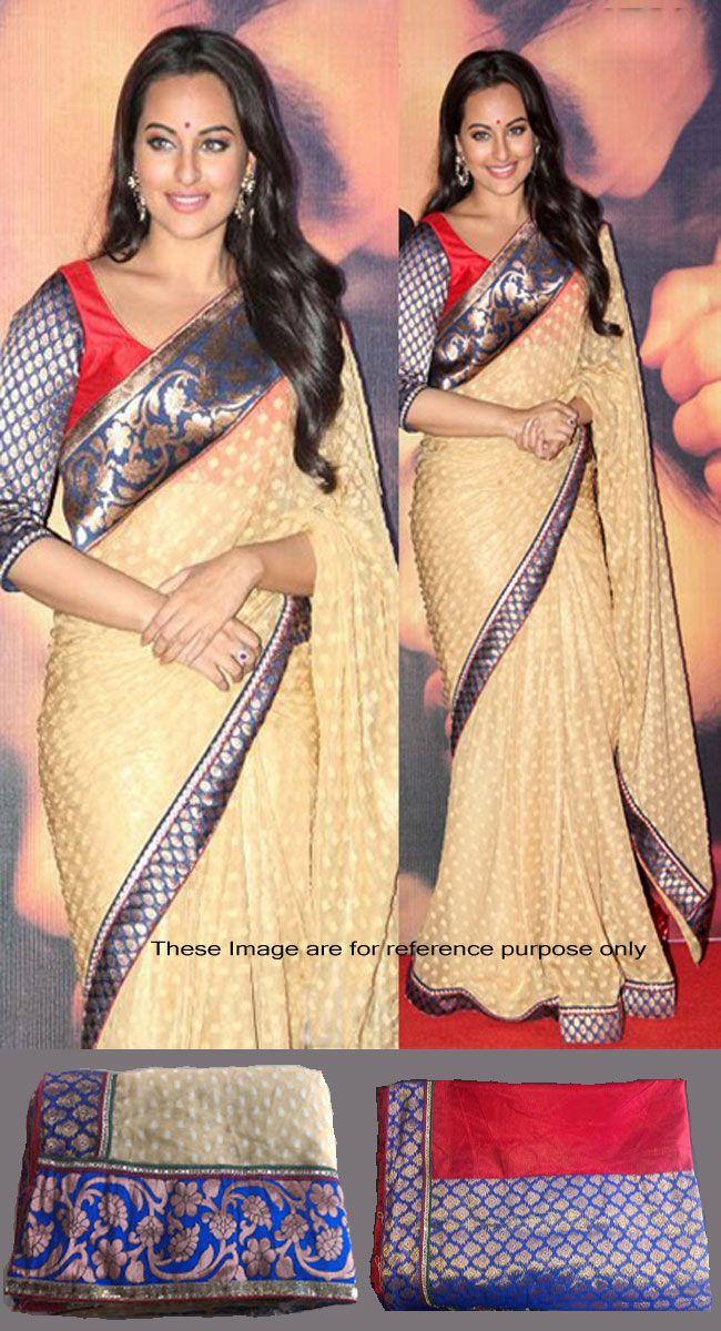 Sonakshi Sinha In Beige Brown Banarasi Silk Bollywood Saree - IG7584 USD $ 63.36