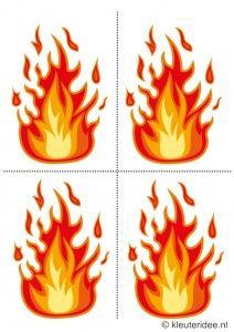 Bijlage gymles, vlammen, bij thema brandweer voor kleuters , juf Petra, voor meer kleutergymlessen ga naar de site kleuteridee.