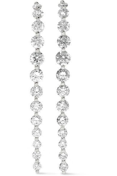 Aptly named 'Long Cascade', Anita Ko's 18-karat white gold earrings have a subtly curved silhouette. Hand-set with 1.08-carats of round-cut diamonds, this sparkling pair makes a special gift. Wear them to complete an elegant evening look.
