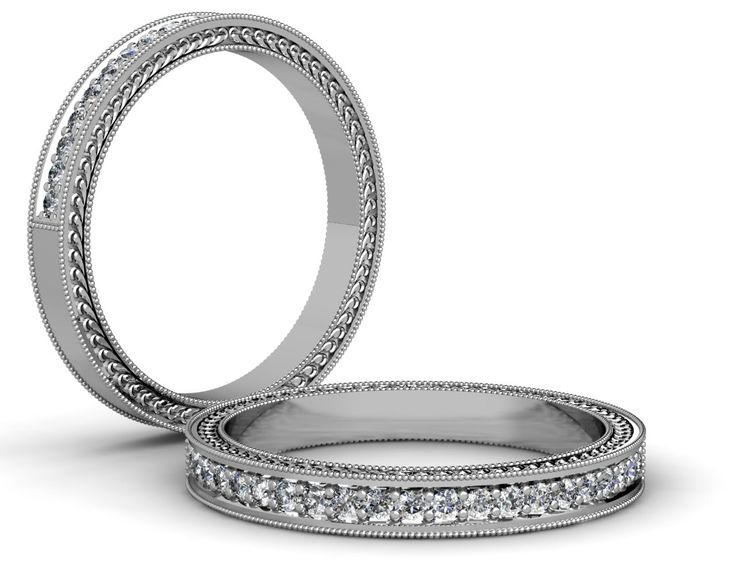 18ct White Gold Traditional Style Engraving Millgrain Ring