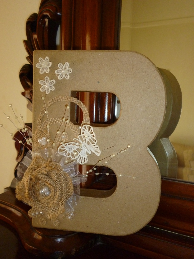 Decorated B with burlap and lace