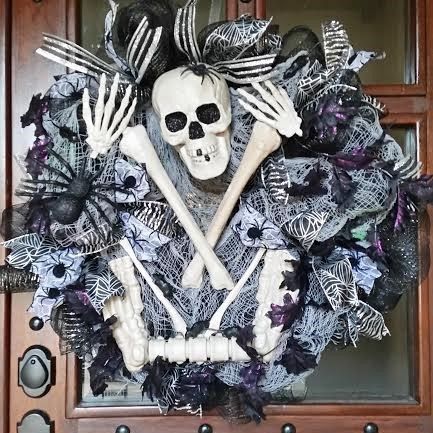 halloween skeleton wreath scary mesh wreath spooky wreath halloween - Etsy Halloween Decorations