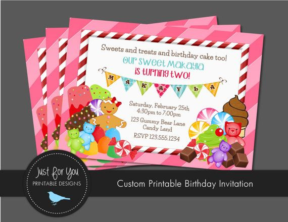 Candyland Candy Land Invitation Candy Birthday - Birthday Party Printables by Just For You Printable Designs