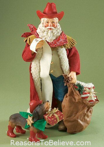 cowboy santa collectable figures | Deputy Dog | Santa Claus Figurines and Hand Carved Wooden Santas