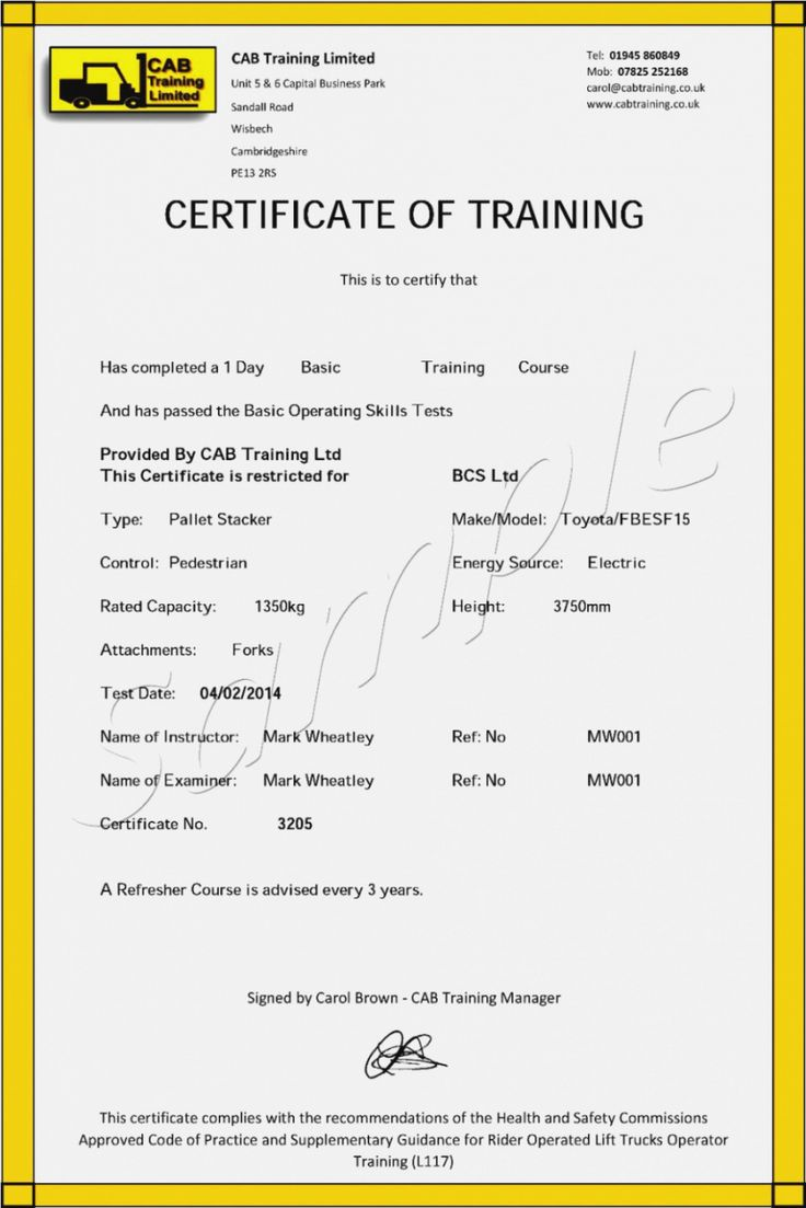 free forklift training certificate template
