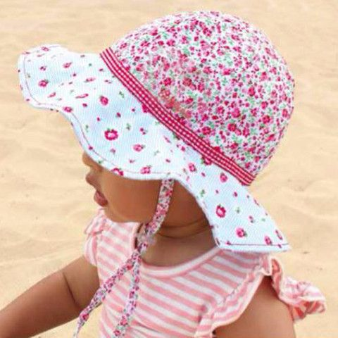 Cherry Rose Baby and Toddler Girl REVERSIBLE SUN PROTECTIVE SUN HAT