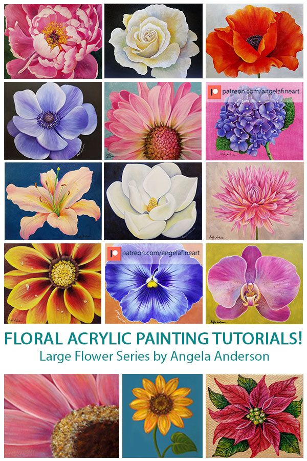 Angela Anderson Art Blog Large Flower Series Acrylic Painting Tutorials Flower Painting Lessons Flower Art Painting Acrylic Painting Flowers