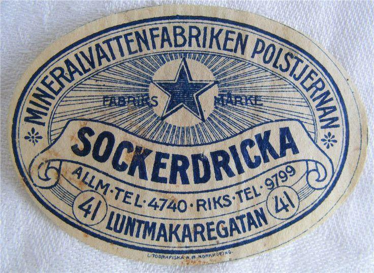 POLSTJERNAN MINERALVATT.FAB. etikett SOCKERDRICKA,tid 1900! på Tradera.