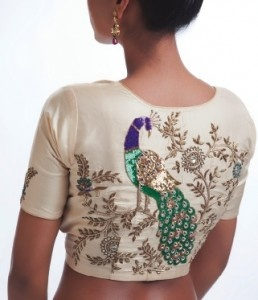 Peacock sari blouse by Riiti Fashions.